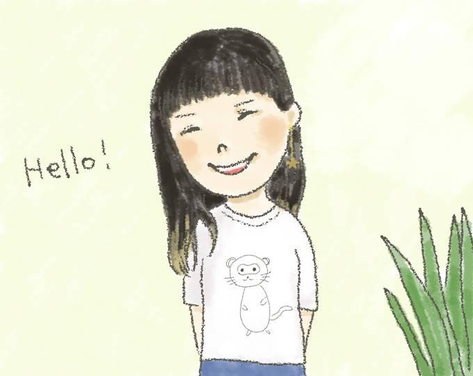 【イラスト】笑顔で立っているみわきららさん