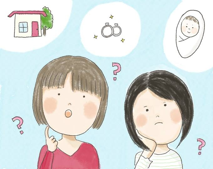 【イラスト】むらたさんとむらたさんの彼女が、結婚や子供について疑問に思う様子が描かれている