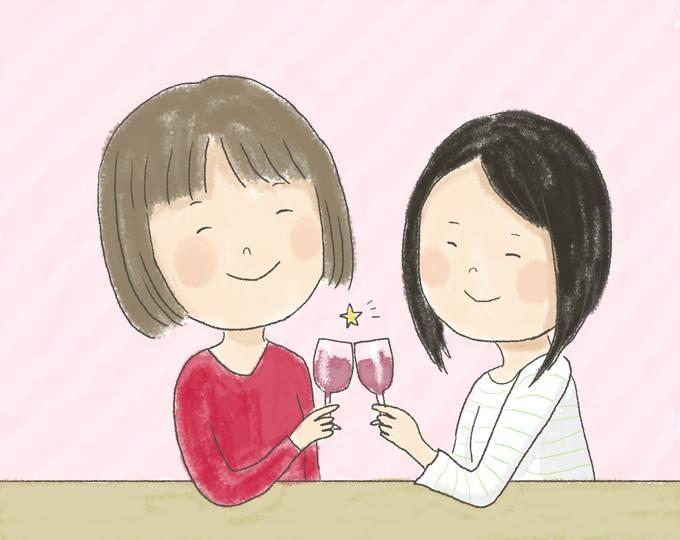 【イラスト】むらたさんとむらたさんの彼女が、グラスを片手に乾杯している
