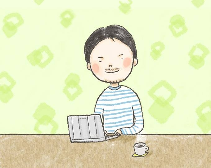 【イラスト】微笑むはやしさんが、パソコンに向かっている
