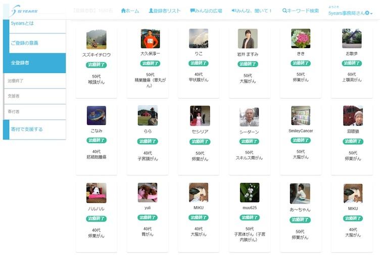 【写真】5yearsのサイトの様子。登録者のプロフィールが写真付きでずらりと並んでいます。