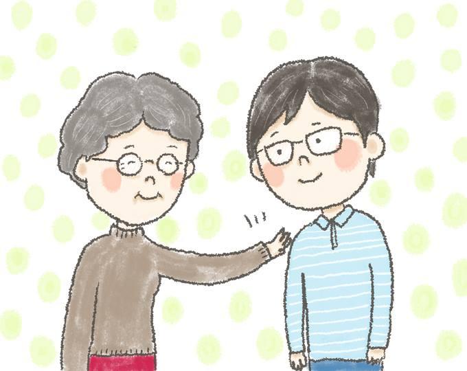 【イラスト】笑顔でどいさんの肩を軽くたたく、おばあちゃん