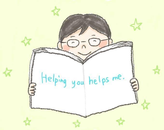 【イラスト】「Helping you helps me」と書かれた本を見せるどいさん