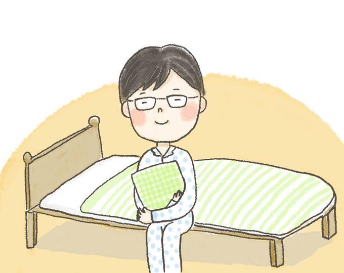 【イラスト】枕を抱えてベッドの上に座る、どいさん