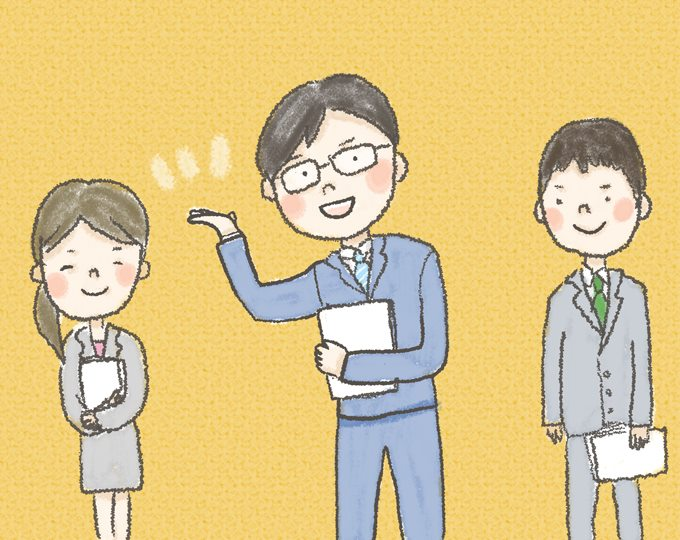 【イラスト】大学の友人らとともに、スーツを着用してはつらつとした様子のどいさん