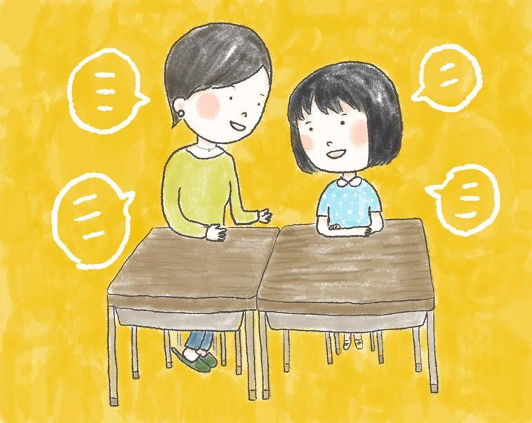【イラスト】子どもの横に並んで座り、たくさんの言葉を交わすつのださん