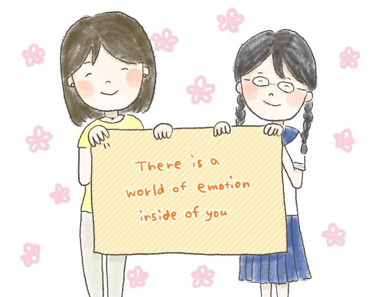 【イラスト】女の子が2人で「There is a world of emotion inside of you 」と書かれた布を持っている