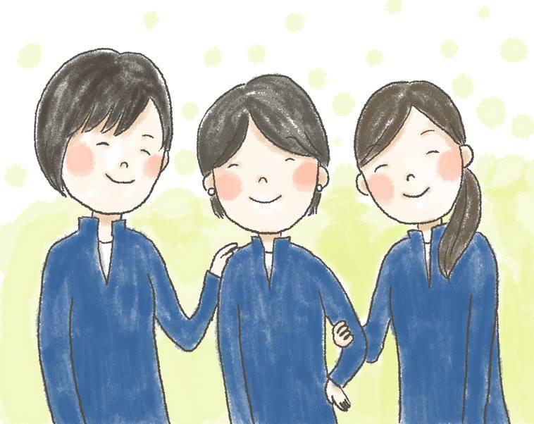 【イラスト】ボランティアの仲間とともに並んで笑顔を見せるさかいさん