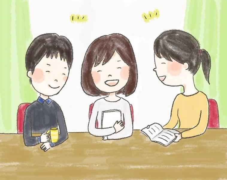 【イラスト】おしゃべりを楽しむ3人の男女