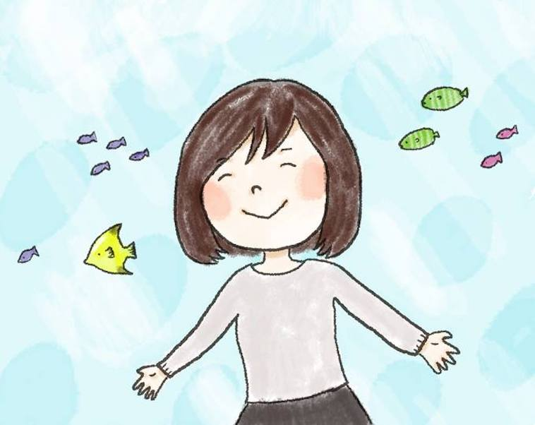 【イラスト】笑顔で手を広げる女の子