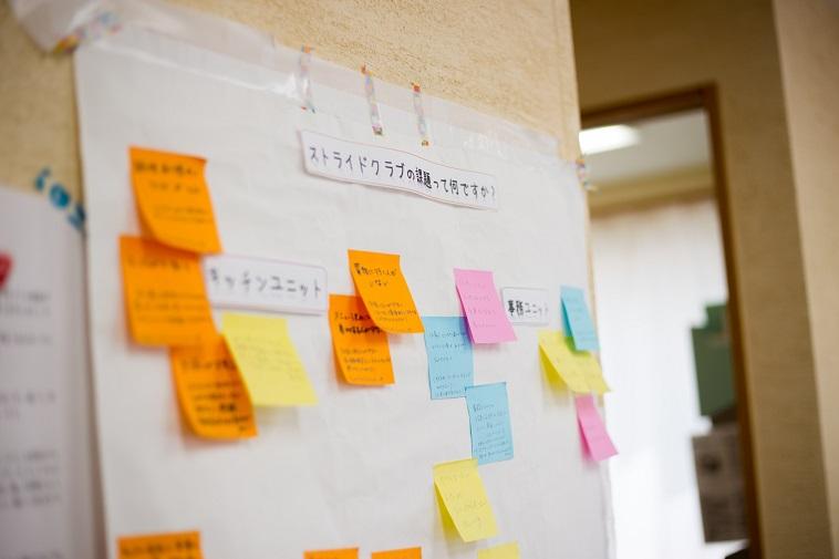 【写真】壁にかけてある張り紙にはストライドクラブの改善点が書かれています