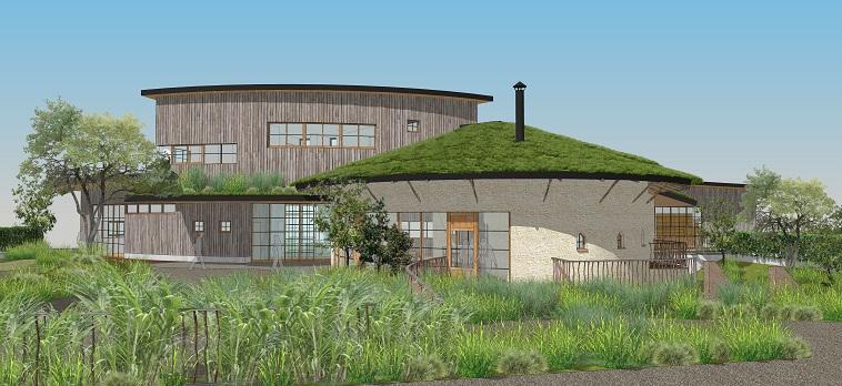 【イラスト】しょうぶ文化芸術支援センターの完成予想図。緑豊かで、落ち着きが感じられる。