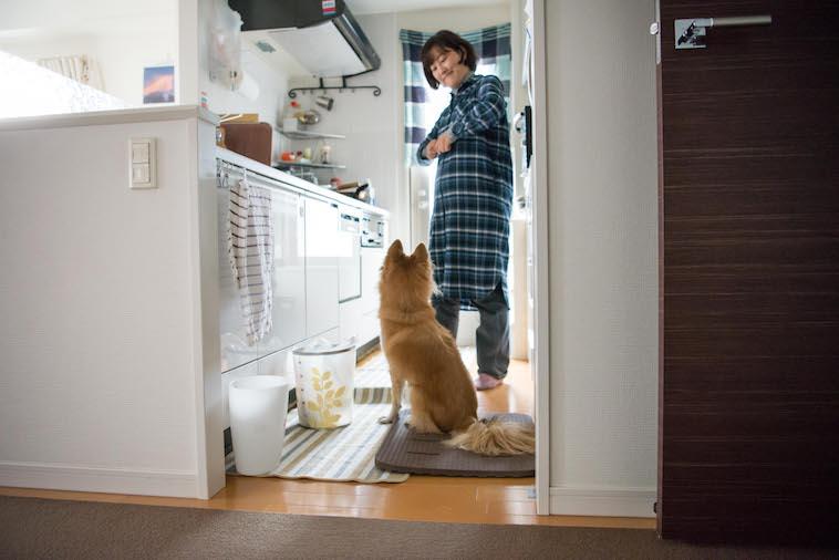 【写真】台所にいるあずまさやかさんとあみのすけ