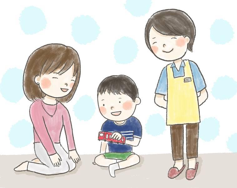 【イラスト】おもちゃで遊ぶ子供とそれを優しく見守る母親とスタッフ