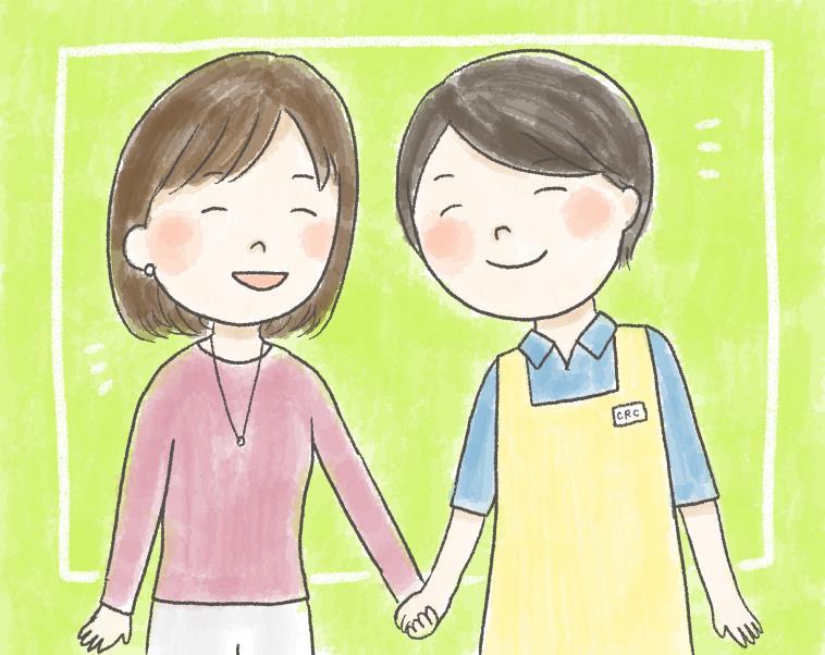 【イラスト】笑顔のお母さんと手を繋ぐ微笑んでいるスタッフ