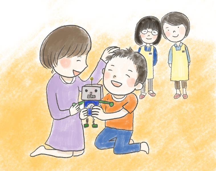【イラスト】おもちゃで遊ぶ子供を褒める母親と遠くから見守るスタッフ
