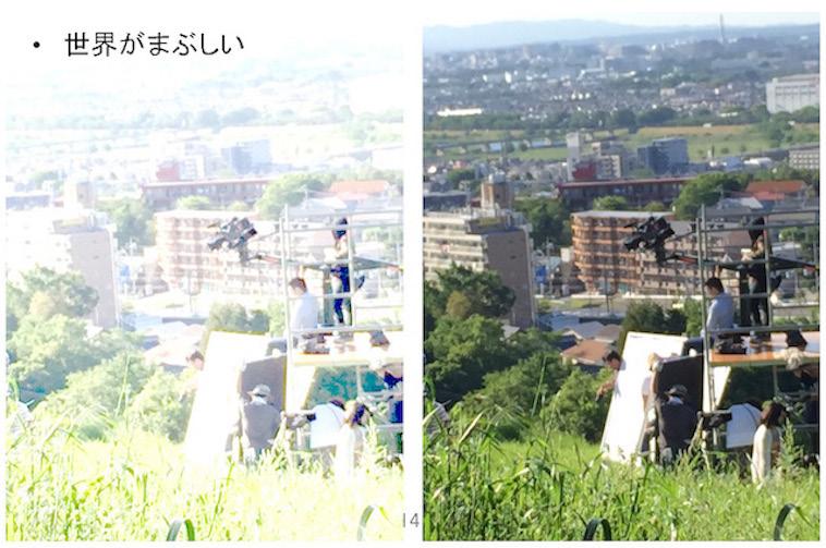 【写真】チアキさんの視覚過敏の症例を2枚の写真で比較。