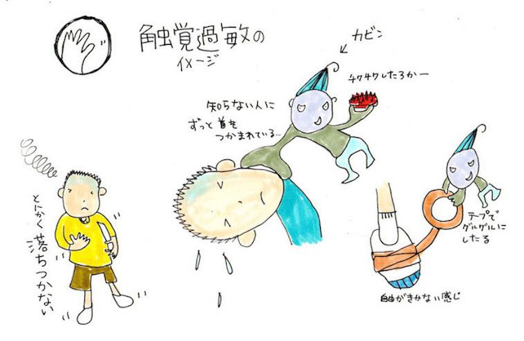 【写真】チアキさんの描いた触覚過敏の症例を紹介するイラスト