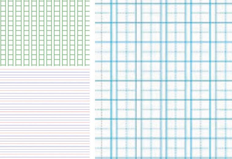 【写真】罫線の入ったノートや方眼紙の図