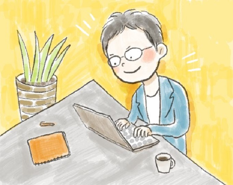 【イラスト】楽しそうにパソコンを使って仕事をするしらいしょうごさん