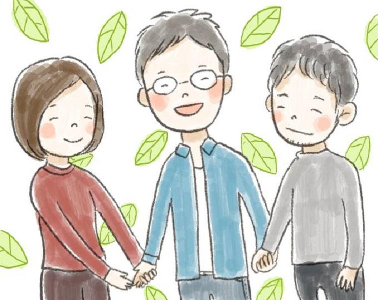 【イラスト】笑顔でほほえむしらいしょうごさんと、手をとって笑顔でほほえむ仲間たち。