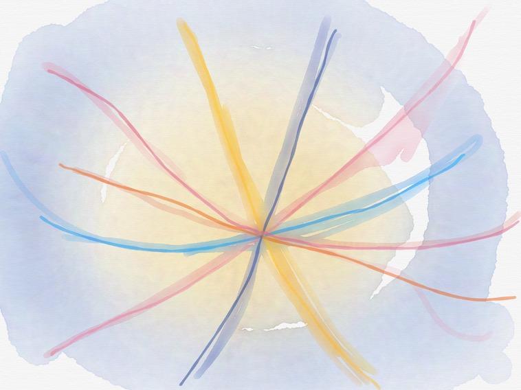 【イラスト】明るい雰囲気がを感じられる様々な線が中心で交わっている。