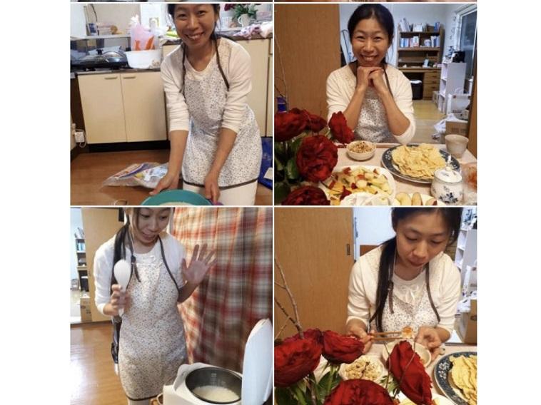 【写真】マツムラミチエさんの日常を紹介したスライド。料理をしている様子や、部屋にバラを飾って美味しそうな料理を前に微笑む写真