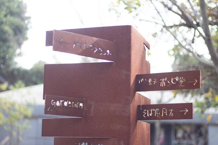 【写真】学園内にある標識。味のある文字でカフェや、パン屋、そば家などの方向を指し示している。