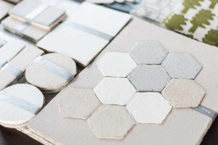 【写真】マル型や六角形、長方形など形が多様な紙のプロダクト