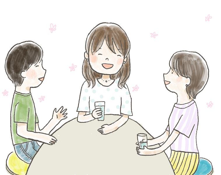 【イラスト】楽しそうに話すぽえむさんと二人の友人