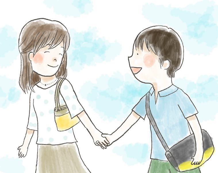 【イラスト】笑顔で息子さんの手をひくぽえむさん