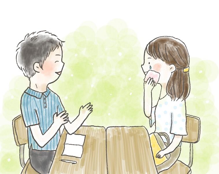 【イラスト】優しく説明する先生と、その話を聞いて涙を流すぽえむさん