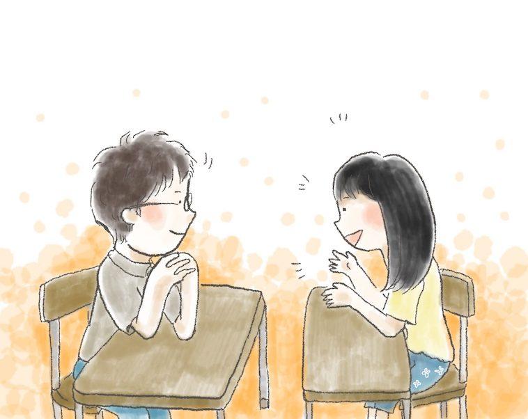 【イラスト】楽しそうに話すななちるさんと、真剣に話を聞く男の先生