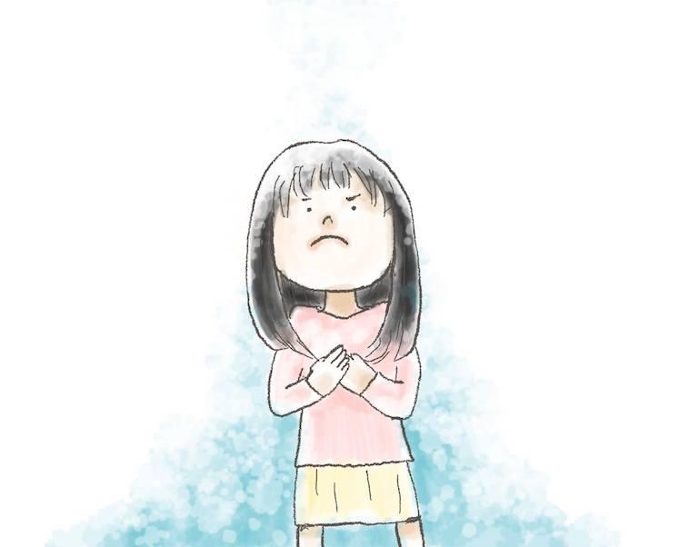 【イラスト】胸のあたりをぎゅっとつかみながら真剣な表情で上を向くななちるさん