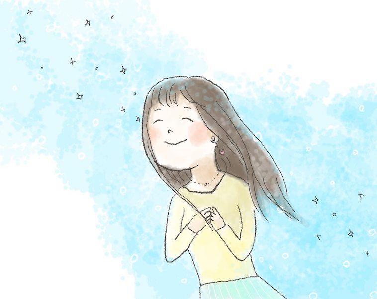 【イラスト】胸に手をあてながら上を向き、明るい表情のななちるさん。ななちるさんの髪は長い。