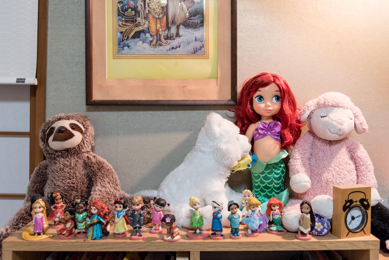 【写真】タンスの上には様々なキャラクターの人形やぬいぐるみが置かれている
