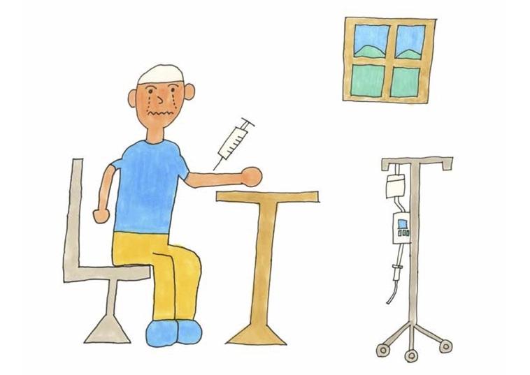 【イラスト】しろうさんの絵本の挿絵。注射を受け泣いている人物が描かれている