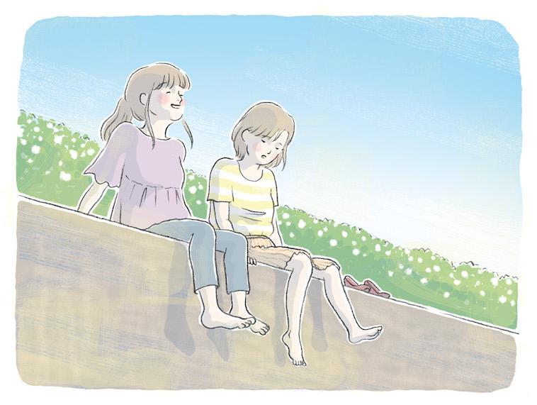 【イラスト】土手で友達と地面に座り、おしゃべりをしている女性