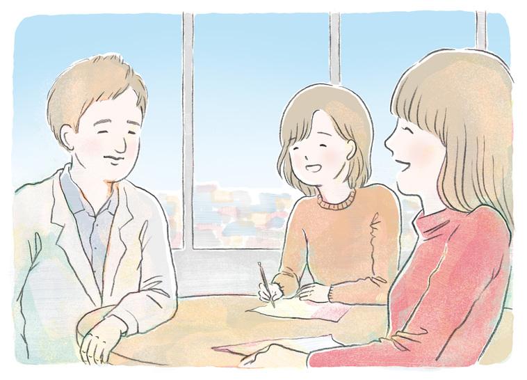 【イラスト】主治医の先生と、楽しそうに会話をする女性