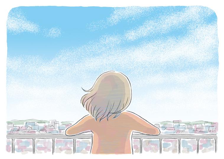 【イラスト】外の光景を見渡す女性の後ろ姿