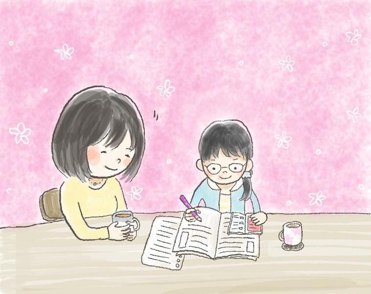 【イラスト】一生懸命勉強するTちゃんと、横で笑顔で見守るいもあんさん