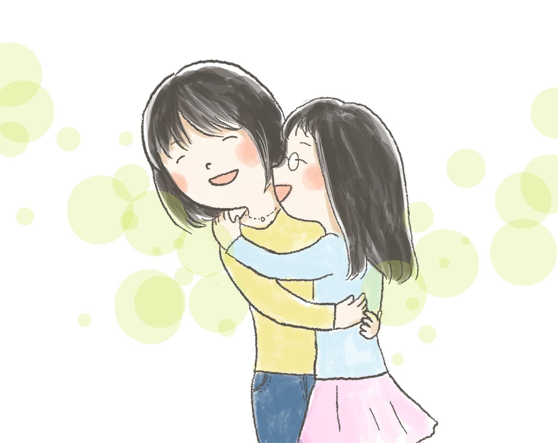 【イラスト】笑顔で抱きしめ合ういもあんさんとTちゃん
