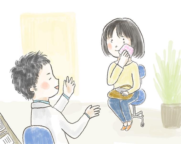 【イラスト】主治医の話を聞いて安心して涙を流すいもあんさん