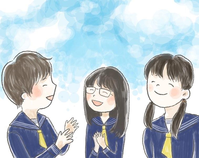 【イラスト】笑顔で学校のお友達と話すTちゃん