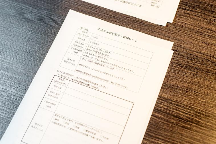 【写真】イベントで使用する自己紹介シート。