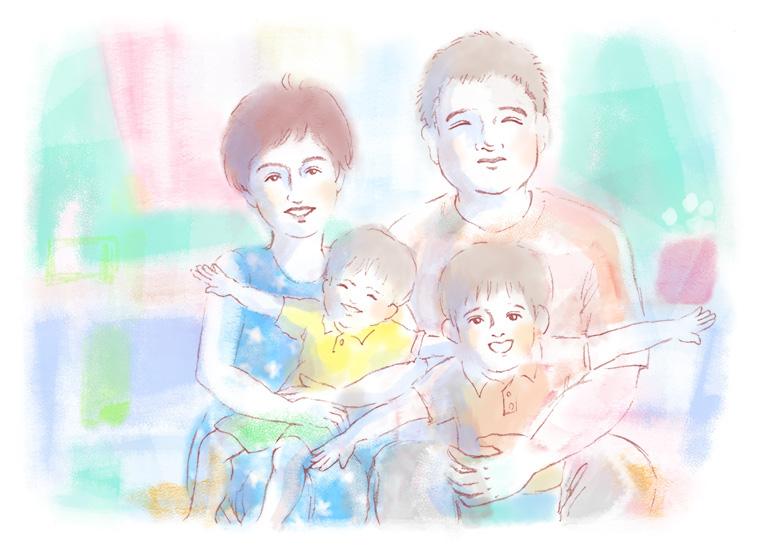 【イラスト】家族と一緒にほほえむナディさん
