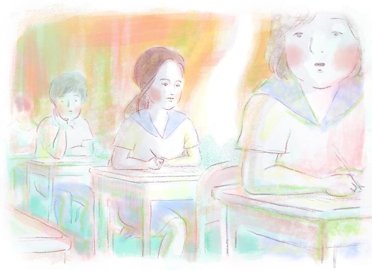 【イラスト】学校で机に座るナディさん