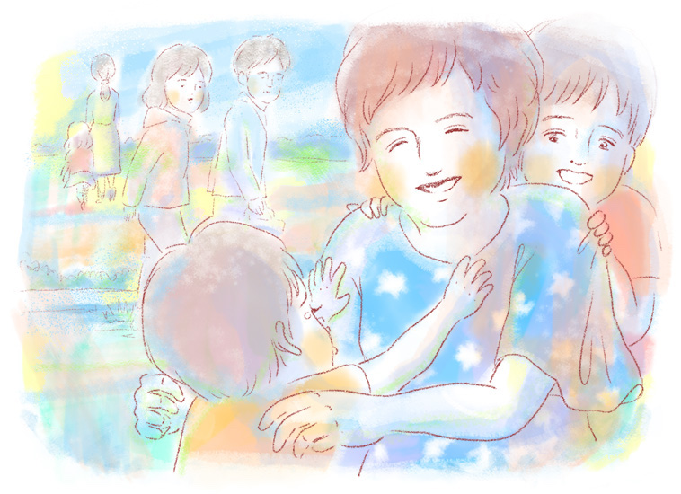 【イラスト】子どもと一緒に遊ぶナディさん