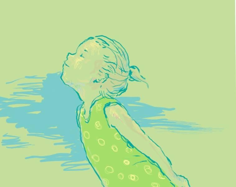 【イラスト】上を向いて微笑む女の子のイラスト